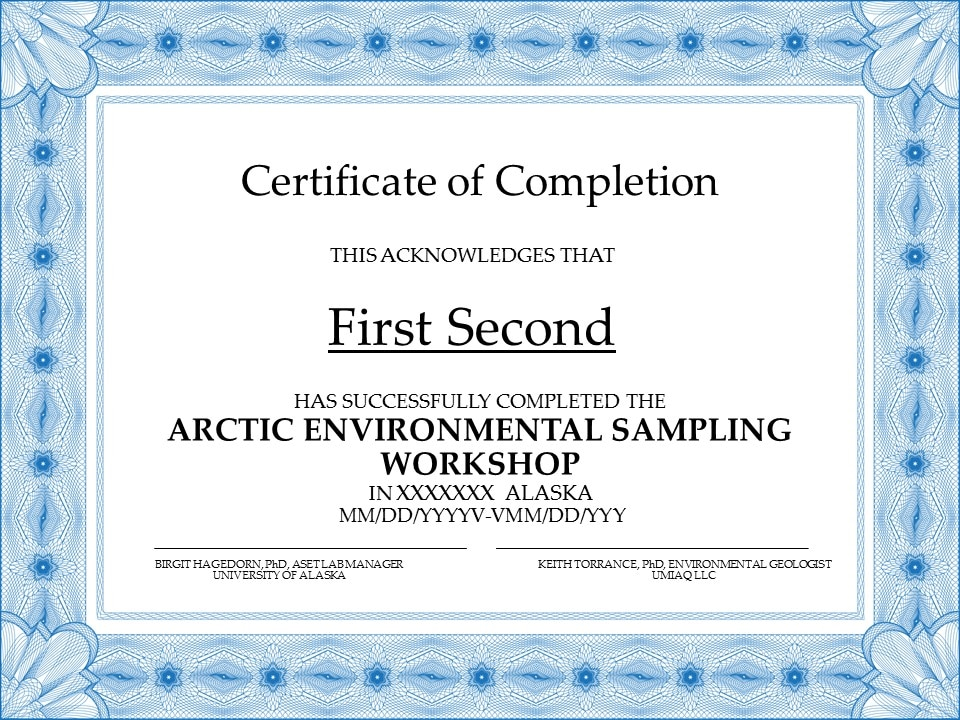 environmental sampling, workshop, certficate